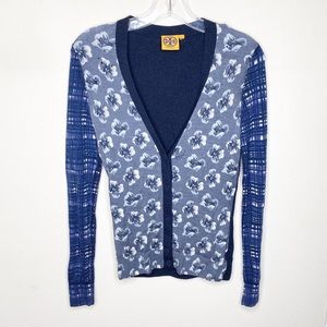 Tory Burch Navy Floral Button Cardigan Sweater
